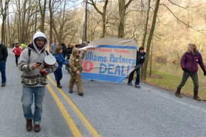 Demonstration in Lancaster County in which 8 were arrested for blocking a drill rig taking core samples.
